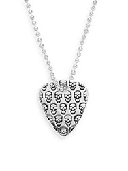 Jan Leslie Skull Guitar Pick Pendant Necklace Silvertone No Color