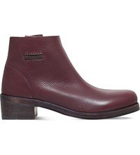 Alberto Fasciani Pull On Leather Ankle Boots Wine