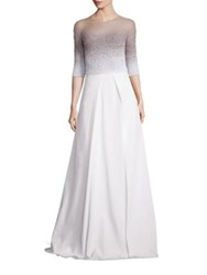 Pamella Roland Ombre Embellished A Line Gown White Black