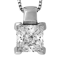 Jools By Jenny Brown Small Square Cut Cubic Zirconia Pendant Necklace Silver