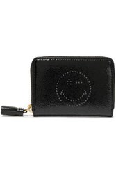 Anya Hindmarch Woman Wink Perforated Crinkled Patent Leather Wallet Black