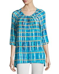 Joan Vass 3 4 Sleeve Tie Dye Boat Neck Tunic Multi