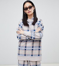 Monki Longline Checked Hoodie In Beige