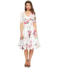 Unique Vintage 1 2 Sleeve Delores Swing Dress White Floral Posey Print Women's Dress