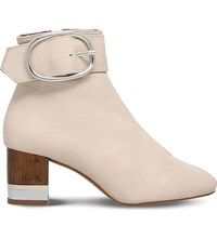 Kg By Kurt Geiger Ringo Leather Ankle Boots Cream