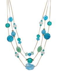 Styleandco. Style And Co. Gold Tone Blue Green Three Row Illusion Necklace