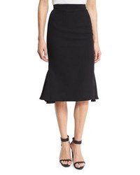 Brandon Maxwell Flared Heavy Georgette Pencil Skirt Black