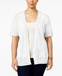 Ny Collection Plus Size Pointelle Cardigan White