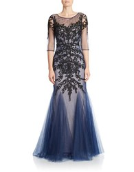 Basix Ii Embroidered Mesh Detail Illusion Gown Nude Navy