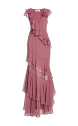 Prabal Gurung Short Sleeve Tiered Ruffle Gown Pink