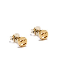 Bing Bang Smiley Face Stud Earrings Gold