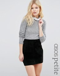Asos Petite Jumper In Mohair With Lace Neck Detail Grey