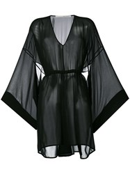Isabel Benenato Flared Sleeves Sheer Dress Black