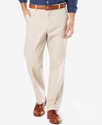 Dockers Men's Signature Relaxed Fit Khaki Flat Front Stretch Pants Cloud