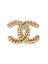 Chanel Vintage Chain Cc Brooch Gold