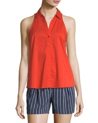 Laundry By Shelli Segal Sleeveless Button Front Poplin Top Orange