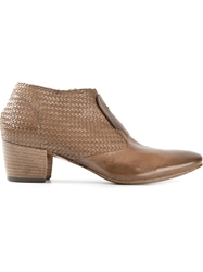 Silvano Sassetti Woven Ankle Boots Nude And Neutrals