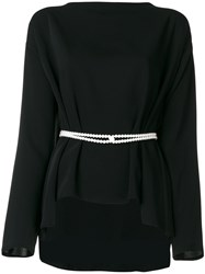 Maison Martin Margiela Mm6 Pearl Detail Belted Top Polyester Black
