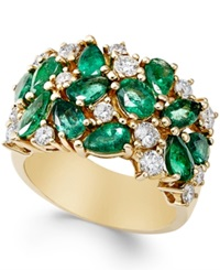 Macy's Emerald 2 3 4 Ct. T.W. And Diamond 7 8 Ct. T.W. Ring In 14K Gold