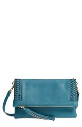 Sole Society Tara Whipstitched Faux Leather Clutch Blue Teal