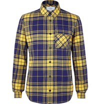 Aztech Mountain Loge Peak Shell Panelled Checked Brushed Cotton Flannel Shirt Blue