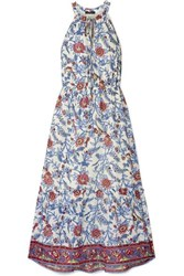 J.Crew Ruffle Trimmed Floral Print Cotton Voile Maxi Dress Blue
