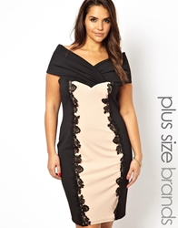 Lipstick Boutique Colour Block Lace Trim Pencil Dress Blacknude