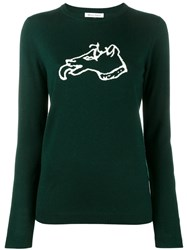 Bella Freud Dog Intarsia Sweater Green