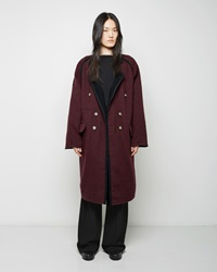Maison Martin Margiela Double Breasted Wool Coat Purple