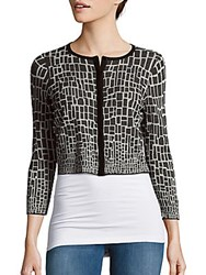 Magaschoni Jewelneck Three Fourth Sleeve Cropped Cardigan Blanc Black