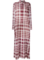 Theory Plaid Maxi Shirt Dress Women Cotton 6 Pink Purple