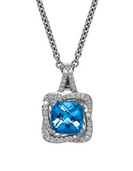 Lord And Taylor Swiss Blue Topaz Diamond And Sterling Silver Pendant Necklace