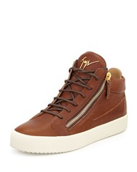Giuseppe Zanotti Men's Leather Mid Top Sneaker Brown