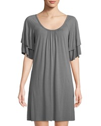 Three Dots Classic Spring Tiered Sleeve Shift Dress Gray