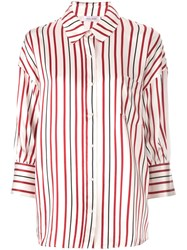 Anine Bing Striped Mia Blouse Red