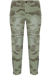 Current Elliott The Utilitarian Camouflage Print Cotton Canvas Tapered Pants Army Green