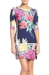 Eliza J Women's Print Jersey Shift Dress Navy Multi