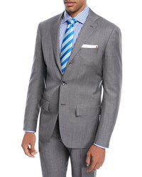 Kiton Super 160S Wool Sharkskin Two Piece Suit Gray