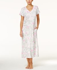 Miss Elaine V Neck Printed Knit Nightgown Grey Purple Floral