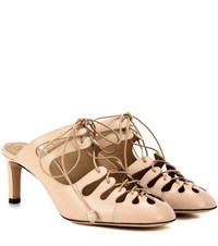The Row Dixie Leather Mules Beige