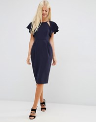 Asos Wiggle Dress With Frill Sleeve And Cut Out Detail Navy