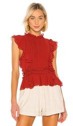 Marissa Webb Florence Crepe Top In Red. Terra Cotta