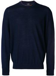 Paul Smith Ps By Printed Trim Turtleneck Blue