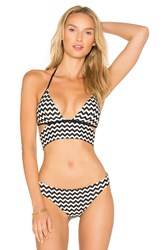 Sauvage Banded Halter Bra Black And White