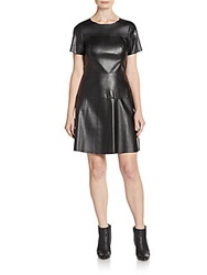 Saks Fifth Avenue Red Faux Leather Paneled A Line Dress Black