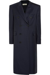 Balenciaga Oversized Checked Wool Coat Navy