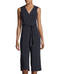 Donna Ricco Striped Sleeveless Belted Culotte Jumpsuit Navy