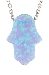 Adam Marc Sterling Silver Iridescent Opal Hamsa Pendant Necklace Purple