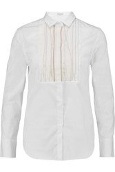 Brunello Cucinelli Bead Embellished Pintucked Cotton Blend Shirt White