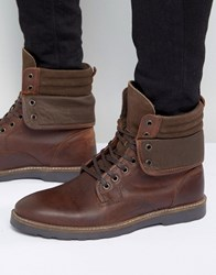 Asos Lace Up Boots In Brown Leather With Cuff Detail Brown